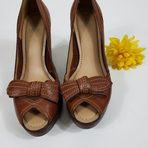 Nicole Wedges Size 7.5M Brown